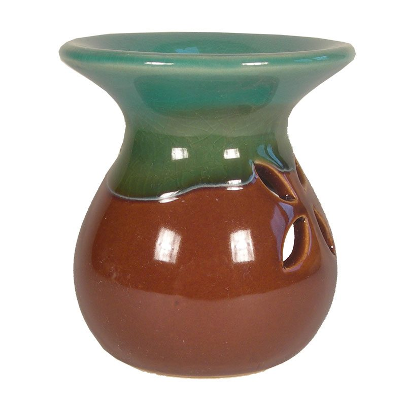 Small Turquoise & Brown Ceramic Burner