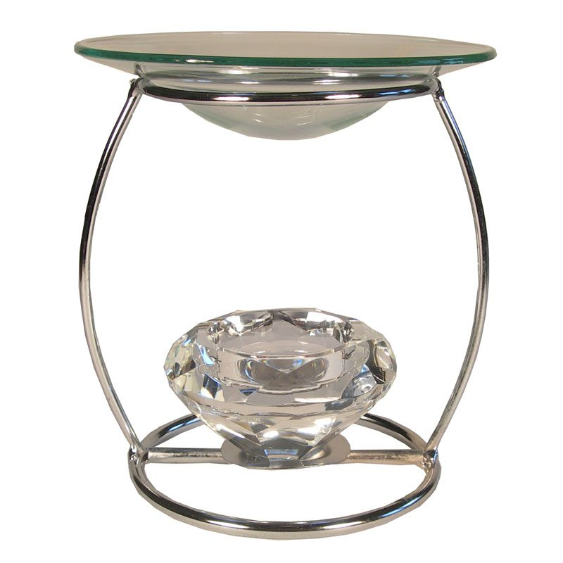Metallic Oil Burner with Crystal Holder