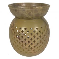 Large Soapstone Bulb Jali Oil Burner